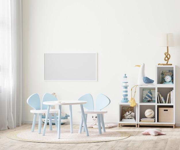 Pusta rama pozioma w jasnym pokoju dziecięcym ze stołem dla dzieci i półkami w pobliżu okna, meble dla dzieci, renderowanie 3d