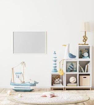 Pusta rama pozioma w wnętrzu pokoju dziecięcego w stylu skandynawskim z półką dla dzieci z książkami i zabawkami, renderowanie 3d