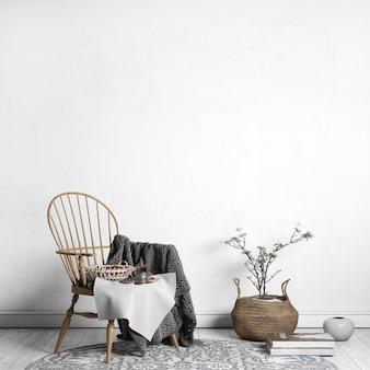 Pusta ramka na plakat w nowoczesnym wnętrzu, drewniane krzesło, salon, skandynawski styl, renderowane w 3d wnętrza,
