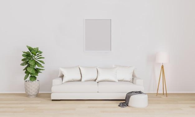 Pusta ramka na ścianie. wstaw swoje zdjęcie. nowoczesne wnętrze salonu