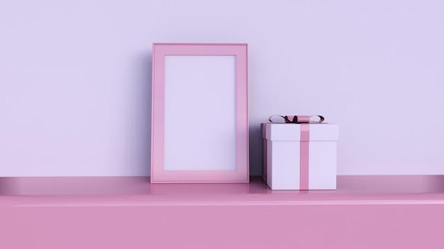 Pusta ramka na zdjęcia i geometryczne kształty na różowym tle, różowe pudełko prezentowe