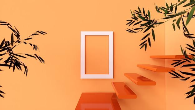 Pusta ramka na zdjęcia i kaktusowe drzewo z pomarańczową ścianą