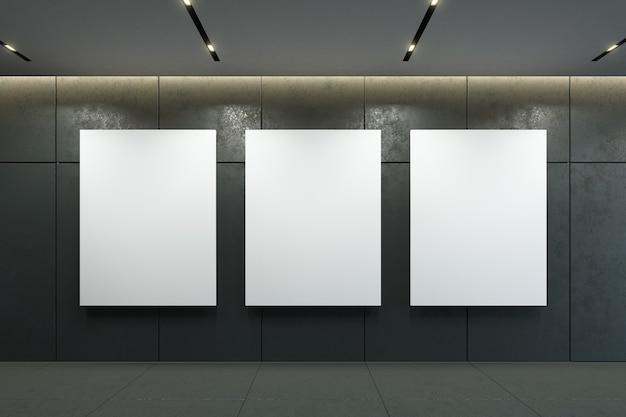 Pusta ramka na zdjęcia na ścianie w renderowaniu 3d