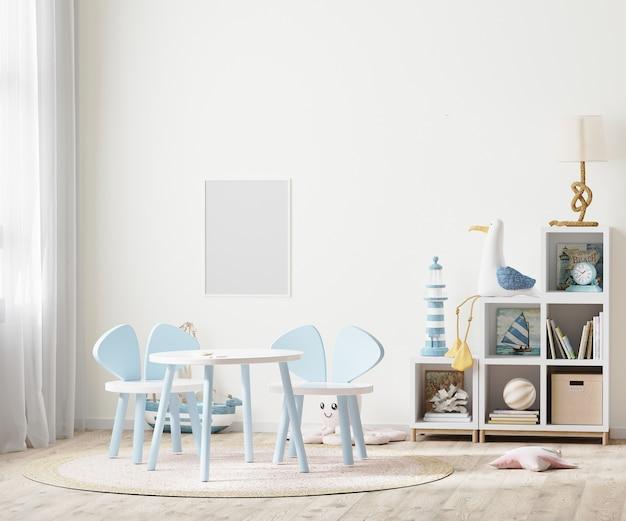 Pusta ramka na zdjęcia w jasnym pokoju dziecięcym ze stołem dla dzieci i półkami w pobliżu okna, meble dla dzieci, renderowanie 3d