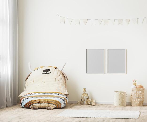 Pusta ramka na zdjęcia w pokoju zabaw dla dzieci renderowanie 3d