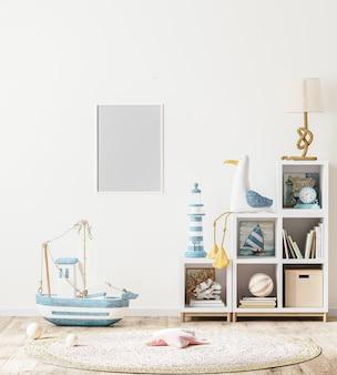 Pusta ramka na zdjęcia w stylu skandynawskim wnętrze pokoju dziecięcego z półką dla dzieci z książkami i zabawkami, renderowanie 3d