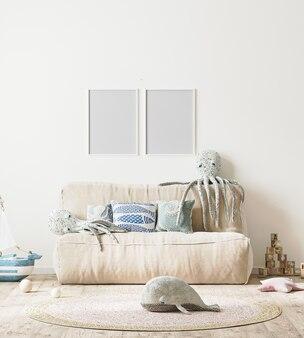 Pusta ramka na zdjęcia we wnętrzu pokoju dziecięcego z łóżkiem i miękkimi zabawkami w renderowaniu 3d