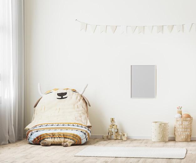 Pusta ramka na zdjęcia we wnętrzu pokoju zabaw dla dzieci, renderowanie 3d w stylu skandynawskim