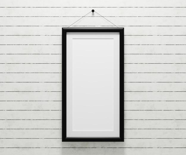 Pusta ramka na zdjęcia wisząca na ścianie do wstawienia zdjęcia. 3d odpłacają się ilustrację.