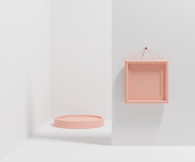 Pusta ramka na zdjęcia wisząca na ścianie do wstawienia zdjęcia i abstrakcyjnego kształtu geometrycznego w minimalistycznym stylu