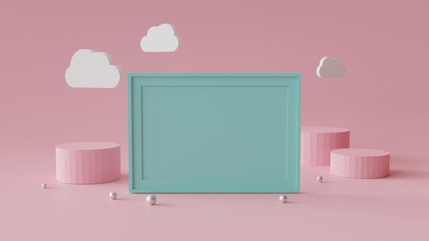 Pusta ramka na zdjęcia z podium cylindra. streszczenie tło geometryczne do wyświetlania lub makieta. renderowanie 3d.