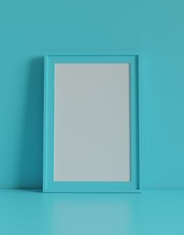 Pusta ramka na zdjęcia z tłem tabeli i ściany. renderowanie 3d.