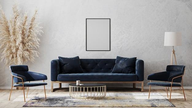 Pusta ramka plakatowa na makiecie szarej ściany w nowoczesnym luksusowym wystroju wnętrza z ciemnoniebieską sofą, fotelami przy stoliku kawowym, fantazyjnym dywanikiem na drewnianej podłodze, renderowanie 3d