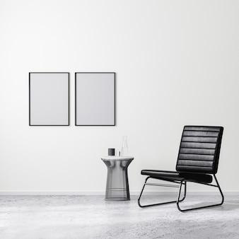 Pusta ramka plakatowa we współczesnej scenie aranżacji wnętrz z czarnym fotelem ze stolikiem kawowym, białą ścianą i betonową podłogą, renderowanie 3d