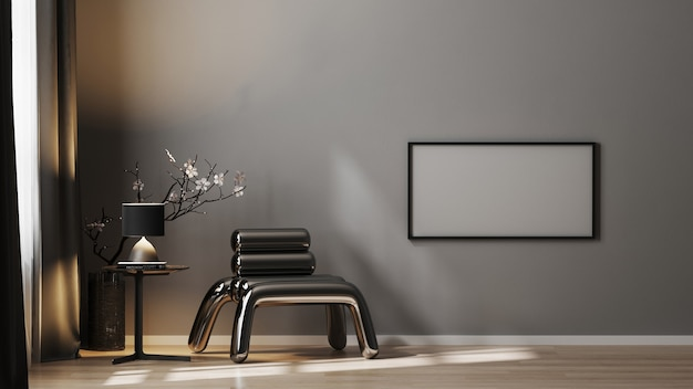 Pusta ramka pozioma makieta na szarej ścianie w luksusowym ciemnym wnętrzu z metalowym fotelem i wystrojem w czerni, renderowanie 3d