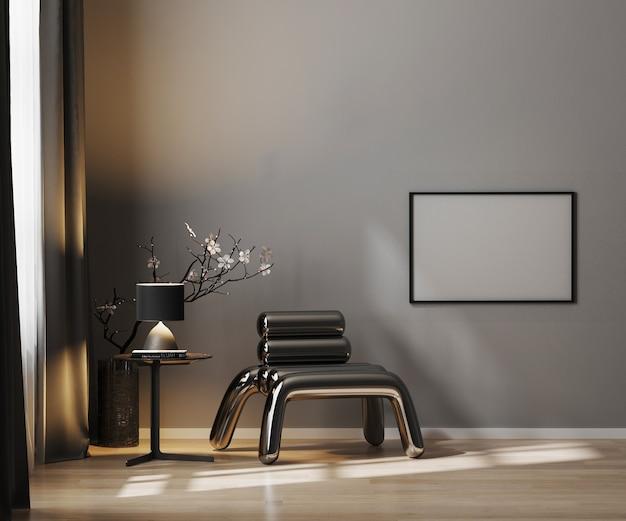 Pusta ramka pozioma na szarej ścianie w luksusowym ciemnym wnętrzu z metalowym fotelem i wystrojem w czarnych odcieniach