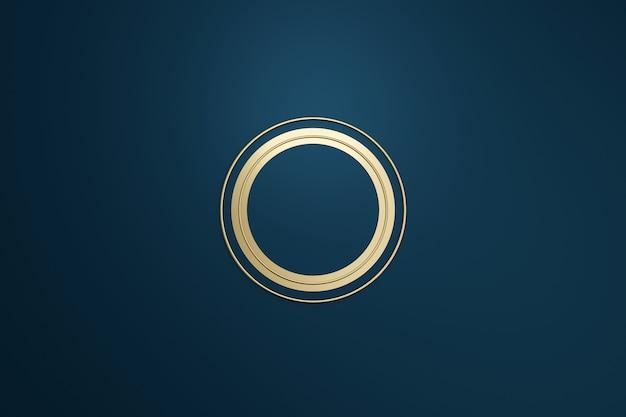 Pusta ramka z logo w nowoczesnym stylu na ciemnym niebieskim tle. pusty szablon godła projektu i okrągły kształt. renderowanie 3d.