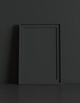 Pusta ramka z tłem tabeli i ściany. renderowanie 3d.