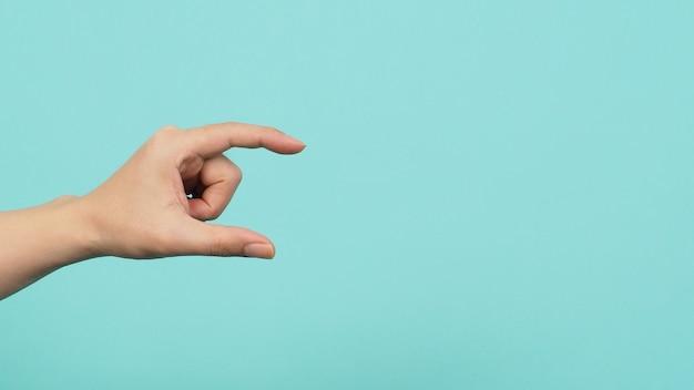 Pusta Ręka Trzyma Lub łap Nic Gości Na Zielonym I Niebieskim Lub Miętowym Tle. Premium Zdjęcia