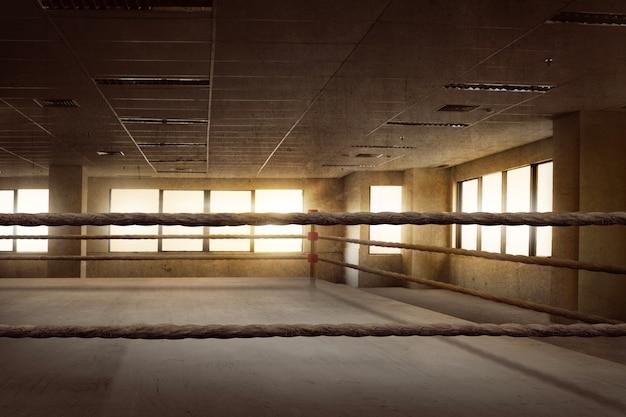 Pusta ringowa arena bokserska do treningu