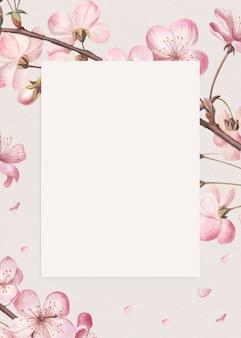 Pusta różowa ramka w kwiaty
