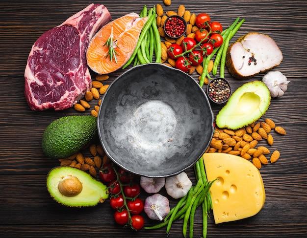 Pusta rustykalna miska z niskowęglowodanowymi składnikami do czystego jedzenia i utraty wagi, miejsce na kopię, widok z góry. pokarmy keto: mięso, ryby, awokado, ser, warzywa, orzechy. koncepcja diety ketogenicznej, zdrowe tłuszcze