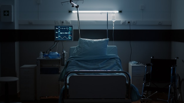 Pusta sala intensywnego pooperacyjnego jako oddział szpitalny