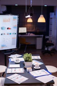 Pusta sala konferencyjna w biurze firmy biznesowej, w której nikt nie ma monitora do prezentacji z kor...