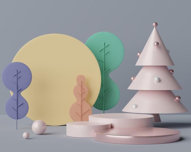 Pusta Scena Podium Z Geometrycznymi Kształtami Do Prezentacji Kosmetyków I Produktów. Premium Zdjęcia