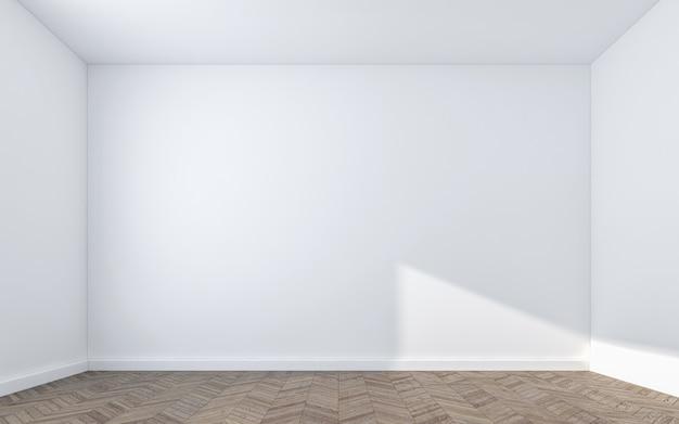 Pusta ściana na drewnianej podłodze. renderowanie 3d