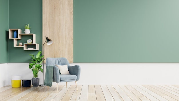 Pusta ściana w pastelowym nowoczesnym wnętrzu z zieloną i białą ścianą z niebieskim fotelem i drewnianymi półkami.