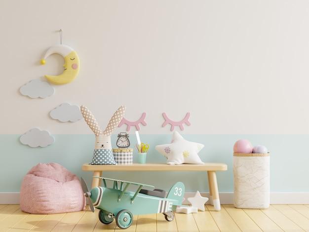 Pusta ściana w pokoju dziecięcym w białej, niebieskiej ścianie. renderowanie 3d