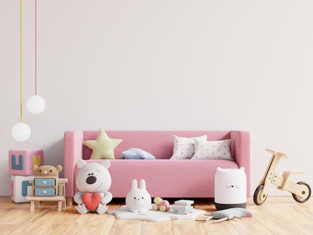 Pusta ściana w pokoju dziecięcym w białej ścianie. renderowania 3d
