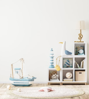Pusta ściana z półką dla dzieci z książkami i zabawkami, wnętrze pokoju dziecięcego w stylu skandynawskim, renderowanie 3d