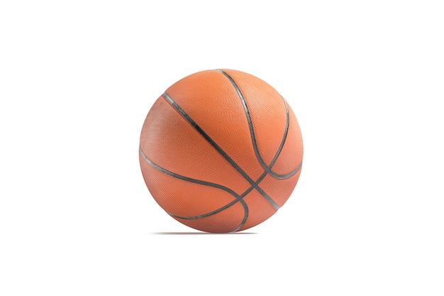 Pusta skórzana piłka do koszykówki makieta pusta pomarańcza grająca w bal profesjonalny sport makieta na białym tle