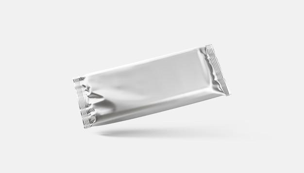 Pusta srebrna tabliczka czekolady folia owinięta makieta pusty deser kakaowy opakowanie z folii aluminiowej makieta na białym tle