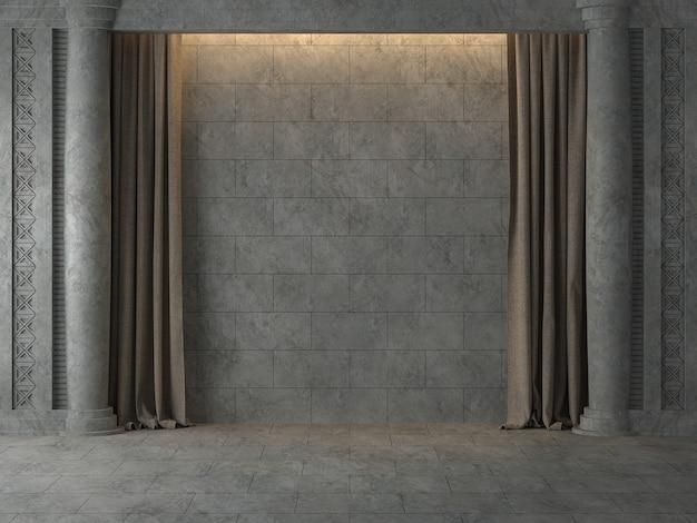 Pusta starożytna ściana z brązową kurtyną renderowania 3dciepłe światło pada na ścianę