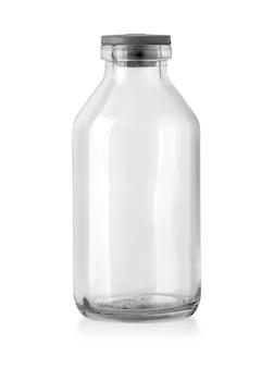 Pusta szklana butelka wyizolowana ze ścieżką przycinającą
