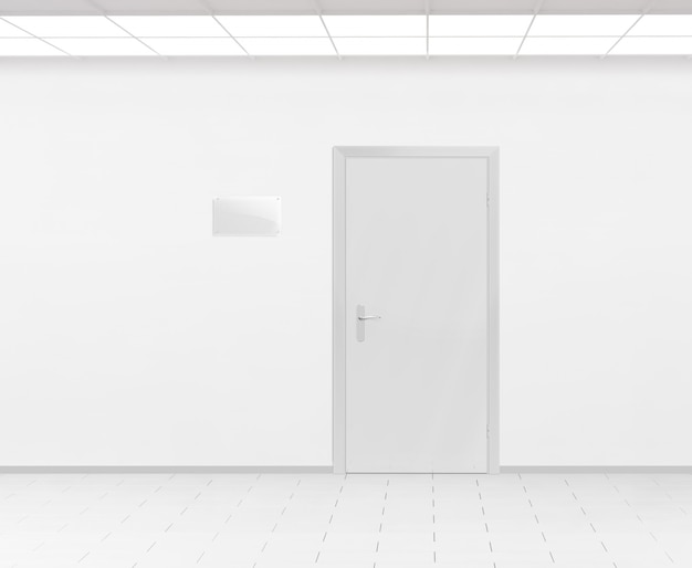 Pusta szklana tabliczka znamionowa w pobliżu drzwi