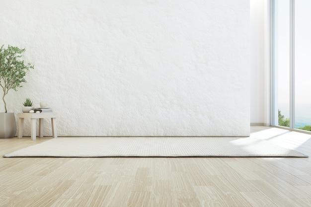 Pusta szorstka biała betonowa ściana w domu wakacyjnym lub willi wakacyjnej.