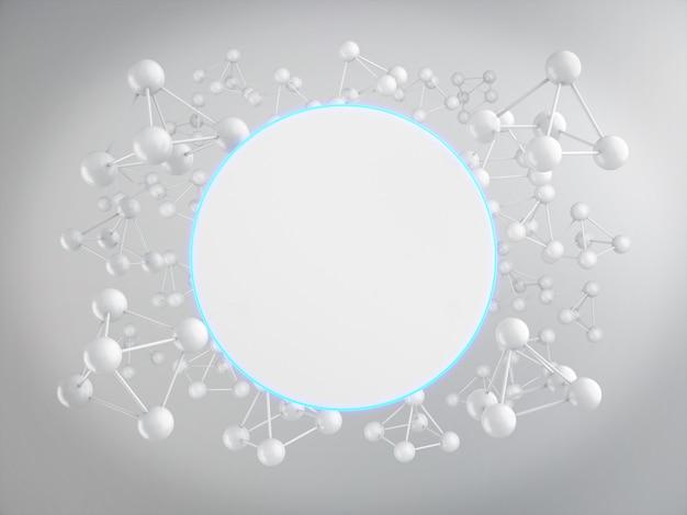 Pusta tablica reklamowa z białymi atomami renderowania 3d