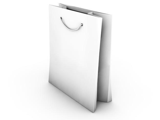 Pusta torba na zakupy na białej ilustracji 3d