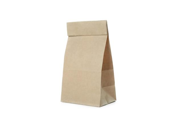 Pusta torba papierowa na białym tle