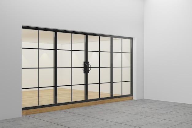 Pusta witryna sklepowa. design z czarną aluminiową i szklaną drewnianą podłogą. renderowanie ilustracji 3d.