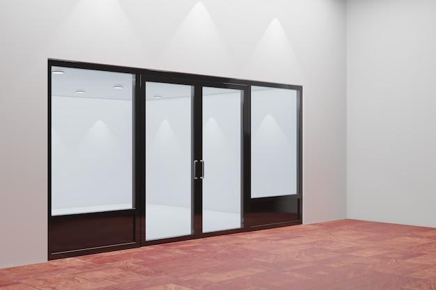 Pusta witryna sklepowa. konstrukcja z czarną aluminiową i szklaną czerwoną podłogą. renderowanie ilustracji 3d.