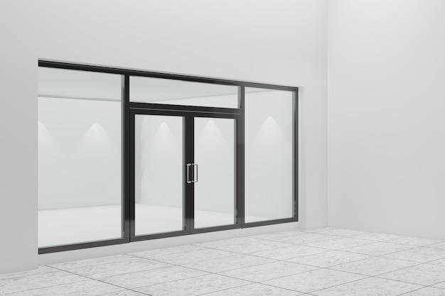 Pusta witryna sklepowa. projekt z czarnym aluminium i szkłem. renderowanie ilustracji 3d.