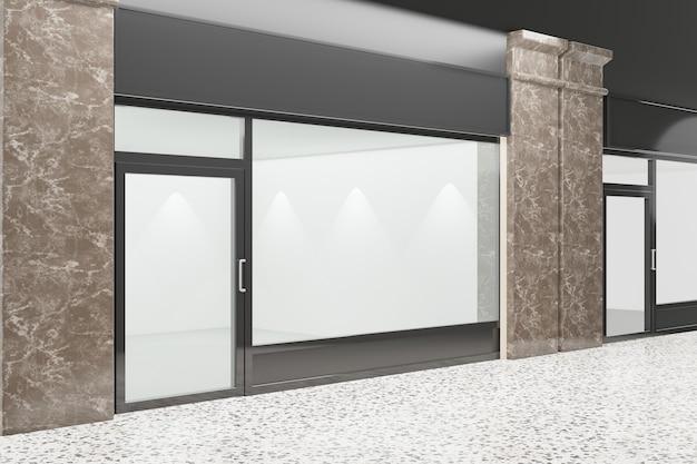 Pusta witryna sklepowa. wzornictwo z czarną aluminiową i szklaną podłogą z marmuru. renderowanie ilustracji 3d.