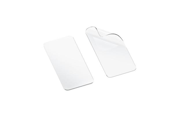 Pusta zakrzywiona przezroczysta folia ochronna i szkło na ekran telefonu na białym tle