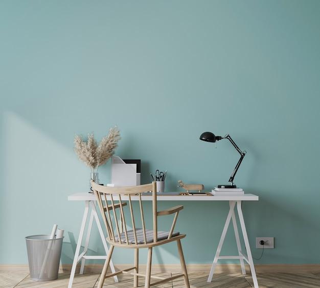 Pusta zielona ściana w nowoczesnym tle wnętrza z drewnianym gabinetem