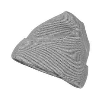 Pusta zimowa szara dzianinowa czapka wełniana czapka makieta z wolnym miejscem na swój projekt na białym tle. renderowanie 3d
